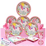 Unicorn Party Supplies for a Magical Unicorn Birthday Party - 1st Birthday Girl Decorations Baby Shower - Tableware Serves 8 (80 Piece Set) High Quality Made in North America Unicorn Paper Plates, Unicorn Napkins, Unicorn Cups & Matching Pink Unicorn Utensils & Unicorn Table Cloth