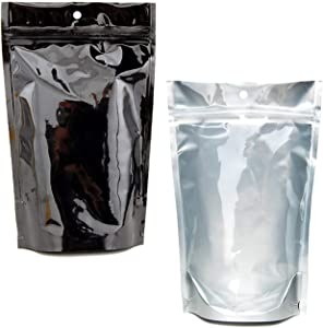 W Gallery 500 Clear Silver Black 4x6.5 in inch Mylar Foil Bags - Odor Smell Proof - Holds Edibles, 1/4 oz ounce, 7 grams, 5 to 7 Prerolls - Resealable Ziplock - Stand Up - Heat Sealable - Bulk Rx