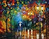 100% Hand Painted Oil Paintings Modern Painting Reproductions Girl Walking in the Rain Decor Abstract Wall Art Paintings (20X25 Inch, Oil Paint 6)