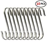 (10 Pack)304 Stainless Steel S Shaped Hooks,Kitchen S Hooks,Heavy Duty Flat Brushed Metal Multipurpose Hooks Food Safe for Butcher Meats,Organizing Utensils,Pots and Pans,Jewelry,Belts,Closets