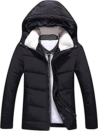 Black X-Large CELINO Mens Fitted Padded Jacket Faux Fur Hood Lightweight Zipped Stylish Coat