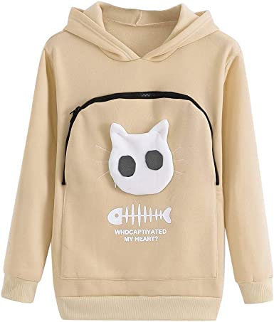 COOKI Women Sweatshirts Womens Striped Cat Printed Crewneck Pullover Long Sleeve Shirts Casual Oversized Sweater Tops