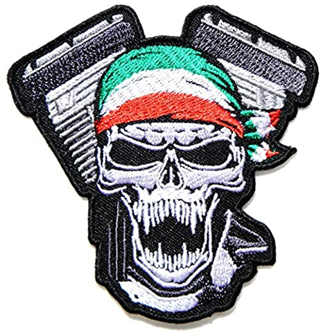 Skull Ghost Piston Motorcycle Italy Flag Wrap Hog Outlaw MC Logo Biker Rider T-shirt Patch Iron on Embroidery Embelm Badge Costume Gift