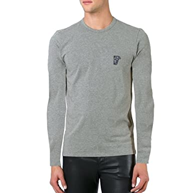 f5823287 Versace Collection Long Sleeve Cotton Tee with Medusa Patch Embroidered  Emblem, Grey (2XL)