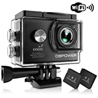 DBPOWER® EX5000 Originale Versione WIFI 14MP FHD Sport Action Camera Impermeabile con 2 batterie e kit accessory inclusi (Nero)