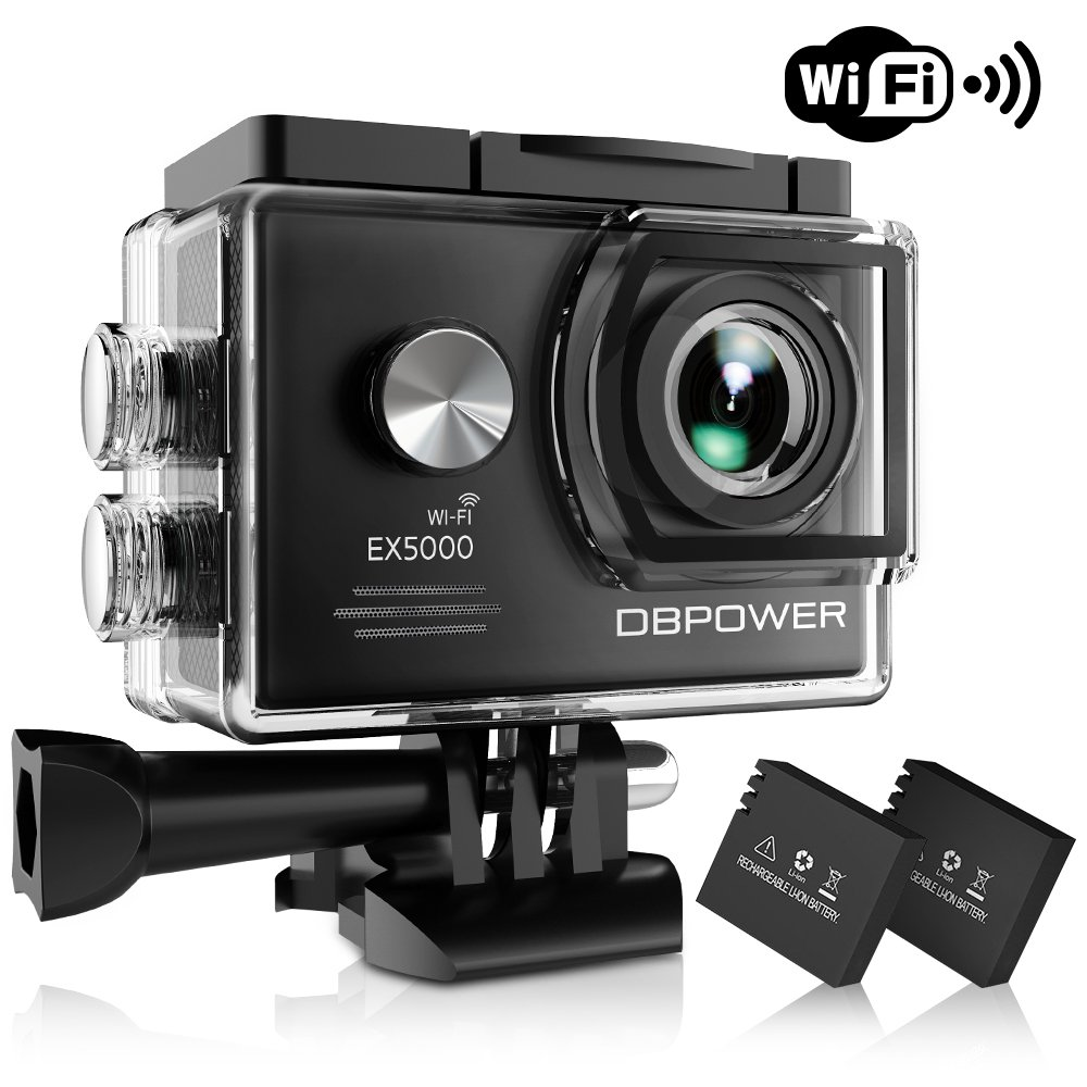 DBPOWER EX5000 Action Camera, 14MP 1080P HD WiFi Waterproof Sports Cam 2 Inch LCD Screen, 170 Degree Wide Angle Lens, 98ft Underwater DV Camcorder With 16 Accessories Kits (A-Action camera) by DBPOWER