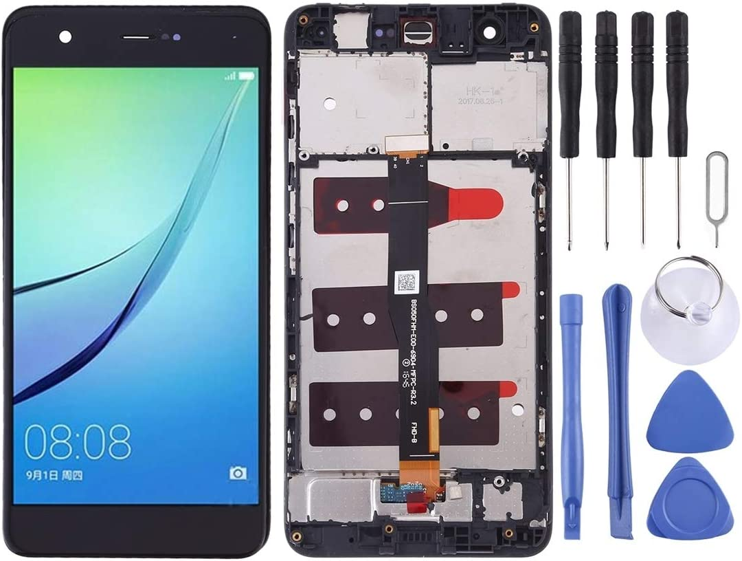 Black Color : Black LCD Screen Mobile Phone and Digitizer Full Assembly with Frame for Huawei nova