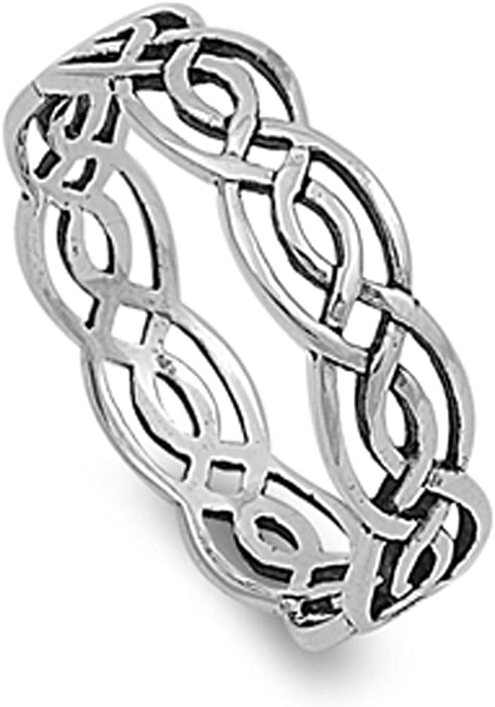 Sterling Silver Womens Celtic Infinity Ring Wholesale 925 Band 5mm Sizes 4-14