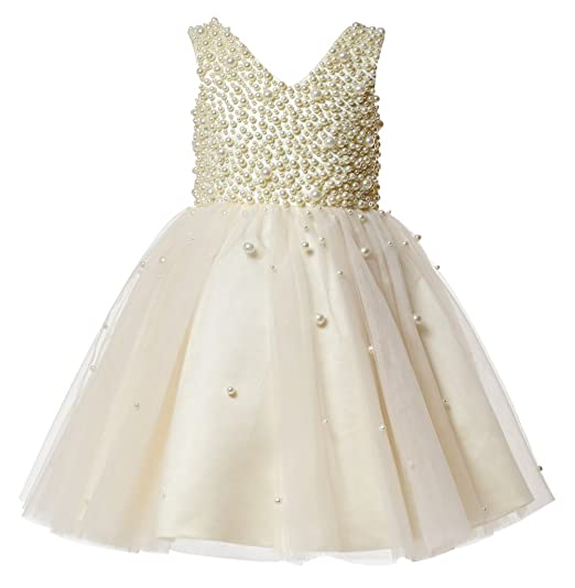 a694ec404f5 princhar Champagne Pearls Flower Girl Dress Little Girl Juniors Wedding Party  Dresses US 2T