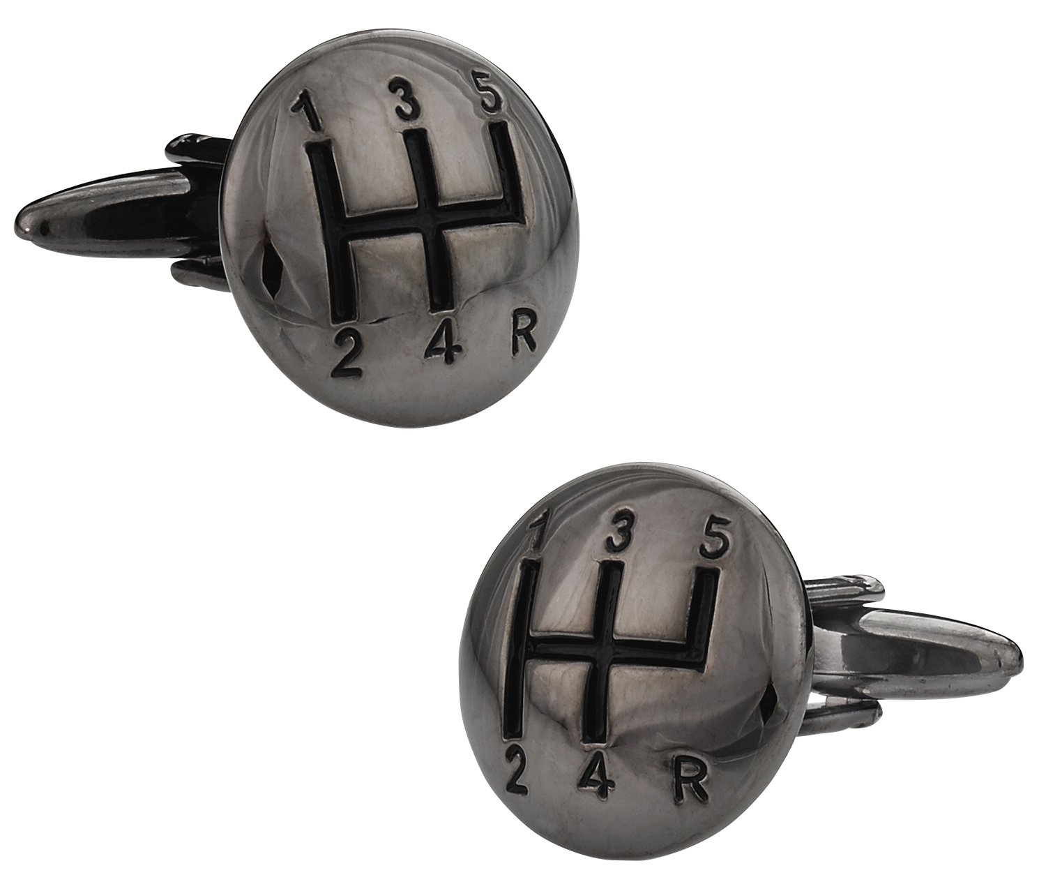 Cuff-Daddy Stick Shift Automotive Car Cufflinks in Gunmetal Tone with Presentation Box