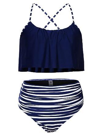 4c2de60be80b6 Vanbuy Womens Ruffled Flounce Crop Bikini Top with Ruched High Waisted  Bottom Bikini Set Y9-