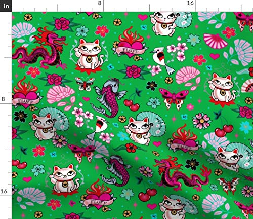 Cats Fabric - Lucky Cat Maneki Neko Dragons And Koi Fish-Green-Medium Green Japanese Asian Print on Fabric by the Yard - Basketweave Cotton Canvas for Upholstery Home Decor Bottomweight Apparel ()