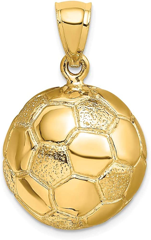 FB Jewels Solid 925 Sterling Silver 3D Football Charm