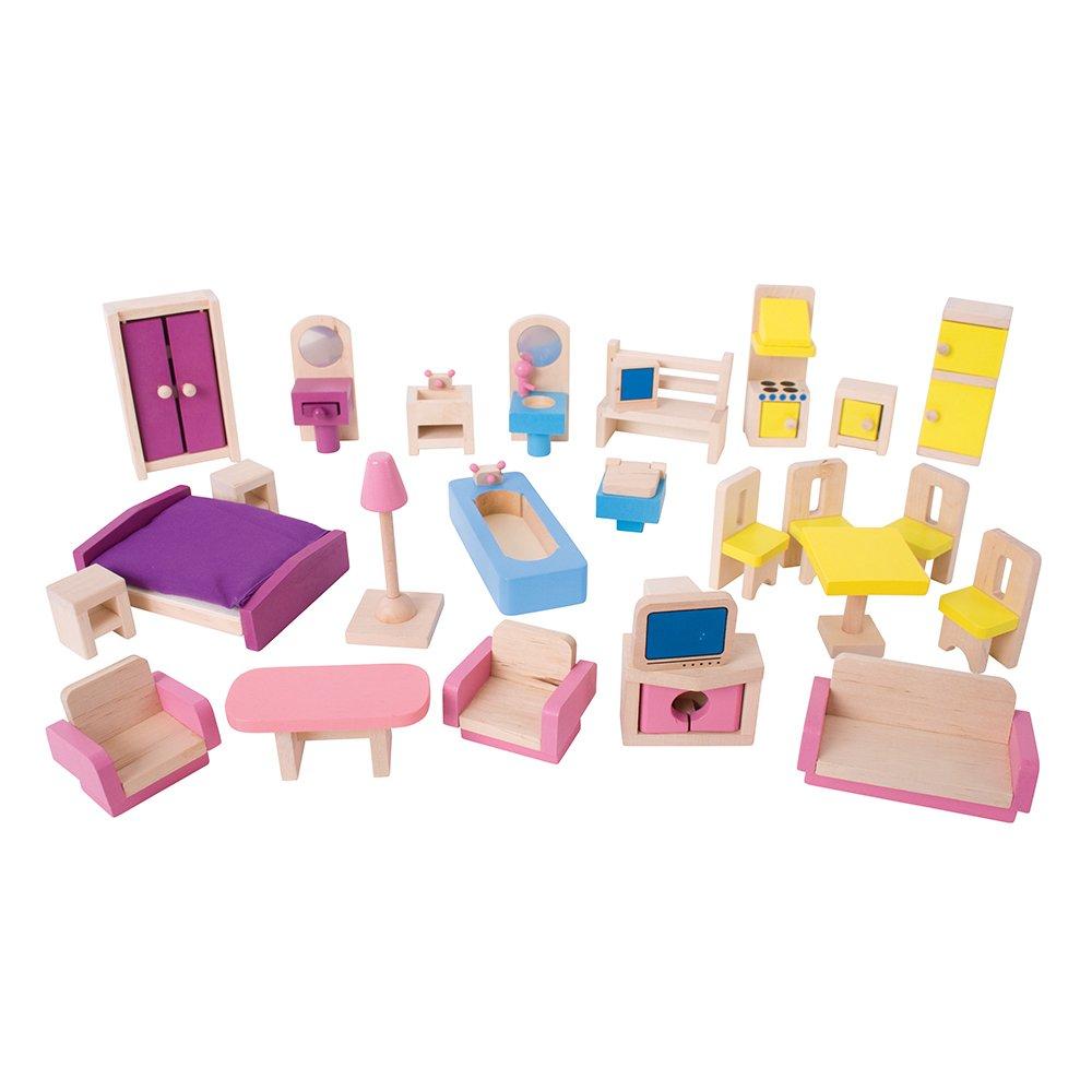 Amazon.com: Bigjigs Toys Heritage Playset Wooden Doll Furniture Set   27  Pieces: Toys U0026 Games