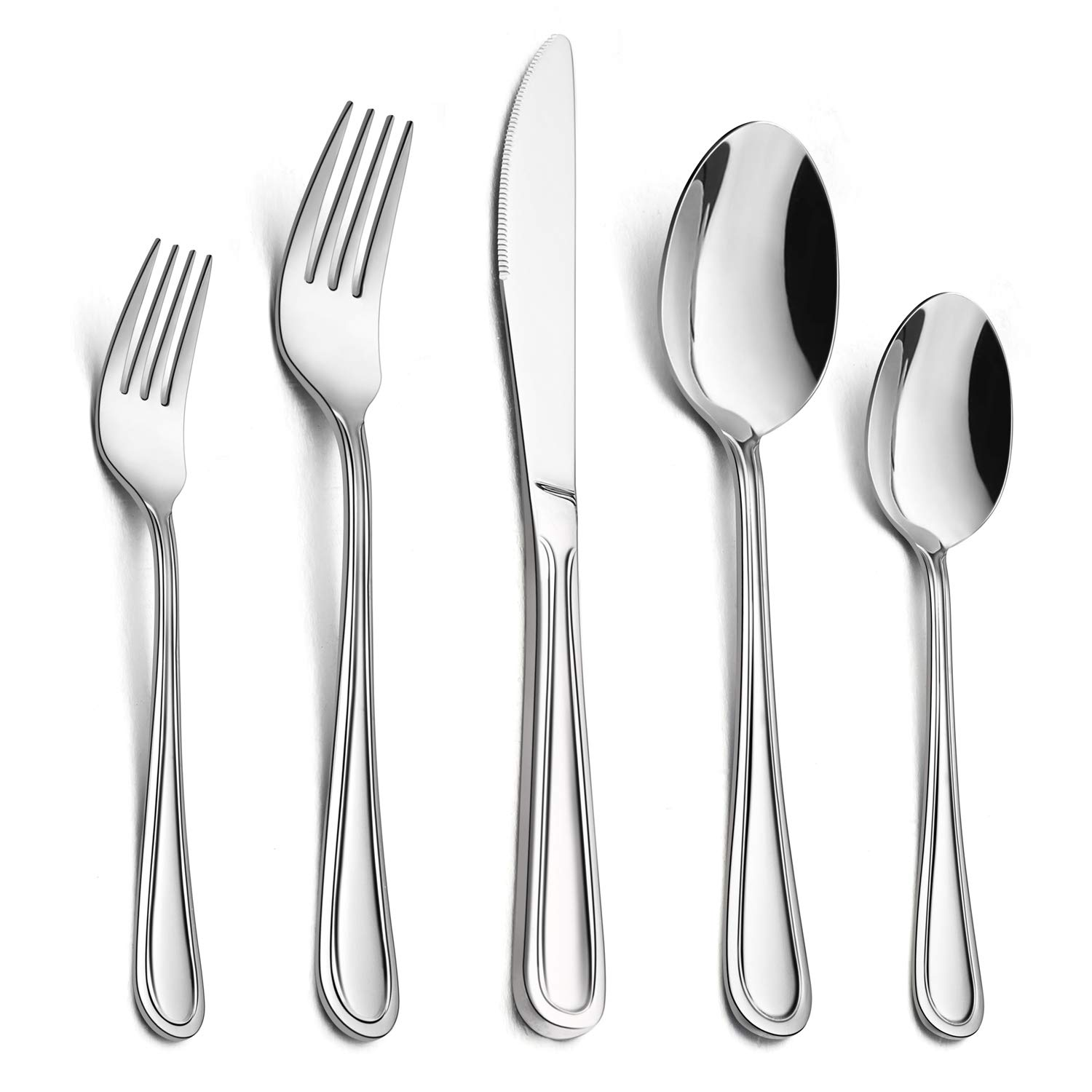60-Piece Silverware Set, HaWare Stainless Steel Flatware Cutlery Set, For Home/Hotel/Restaurant, Service for 12, Modern Elegant Design, Mirror Polished, Dishwasher Safe by HaWare