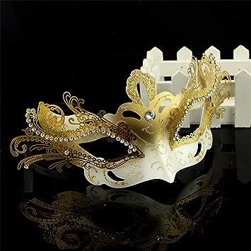 NUOKAI Máscara de Halloween Media Cara Masquerade Princesa Máscara Diamante Venecia Máscara de Cobre Un Tamaño