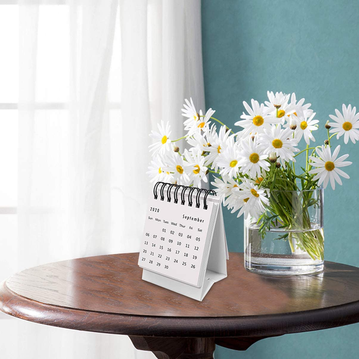 NUOBESTY 1Pc 2021 Mini Calendar Solid Color Calendar Schedule Planner Organiser Table Calendars Desk Memo for Office Home 2020.7-2021.12, Black