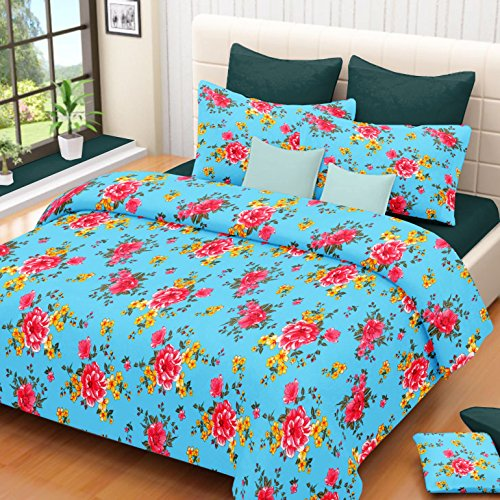 Vintana Blue Cotton Double Bedsheet With 2 Pillow Covers – Floral Print