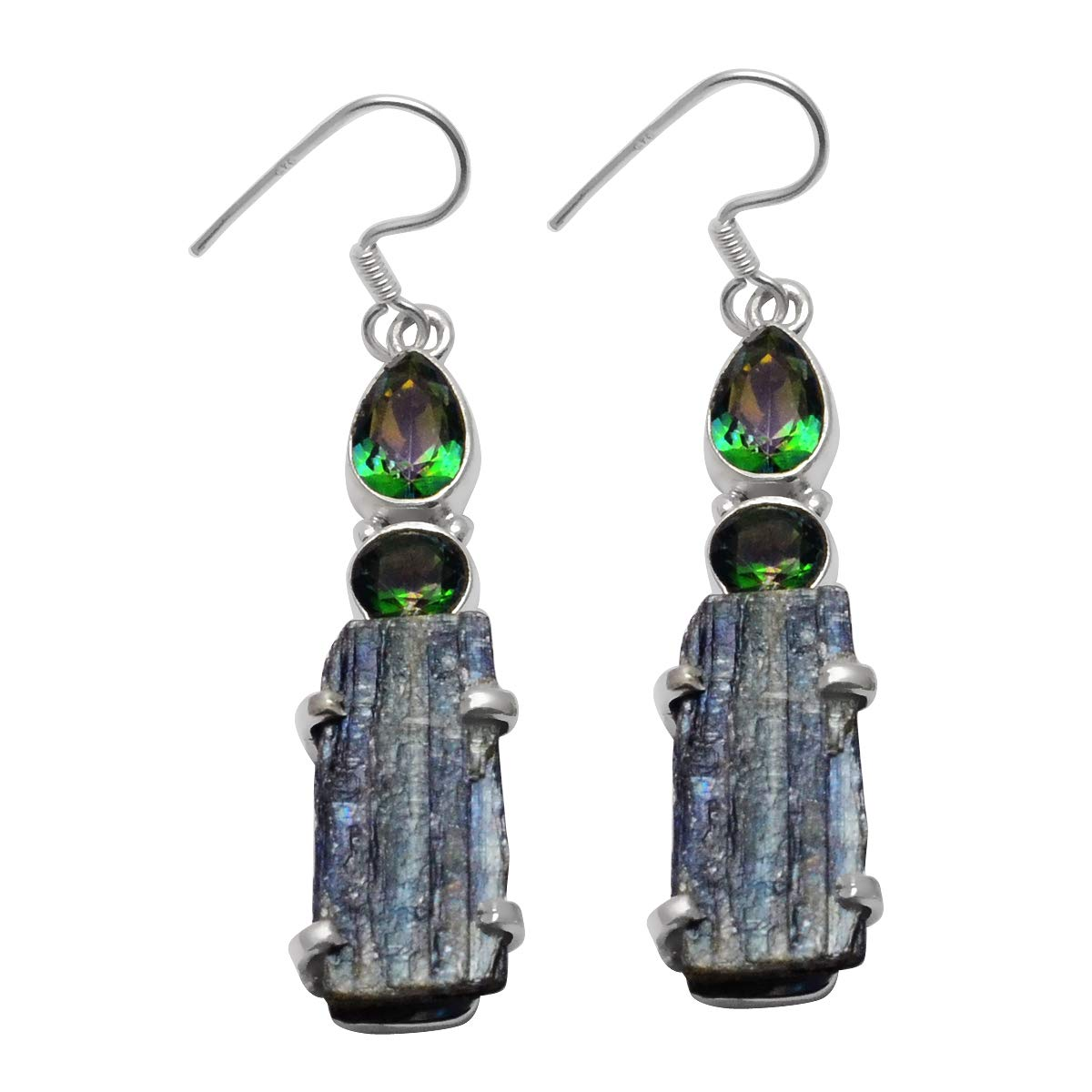 Silver Palace 925 Sterling Silver Handmade Kyanite Mystic topaz Earrings for Womens and Girls