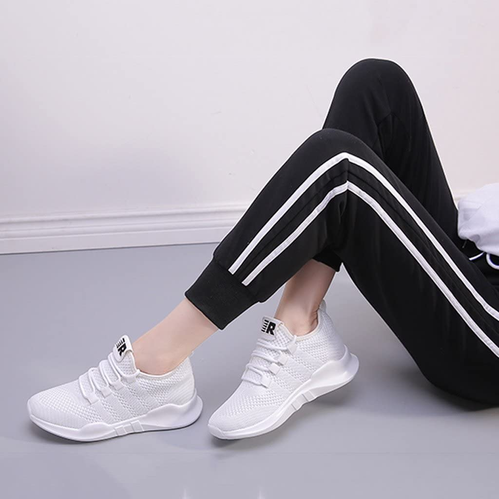 Dream Chaser Zapatillas de Running Blancas - Zapatillas de Malla Transpirable para Mujer 5 cm Moda Zapatos de cordón: Amazon.es: Hogar