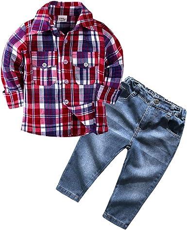 Mitlfuny Conjunto de 2 Piezas Rojo Cuadros Blusas + Vaquero Pantalones Jeans Ropa de Bebé Camisetas de Manga Larga Niñas Niños Solapa Botón Camisas Tops Primavera Otoño Trajes Niño 1-6 Años: Amazon.es: