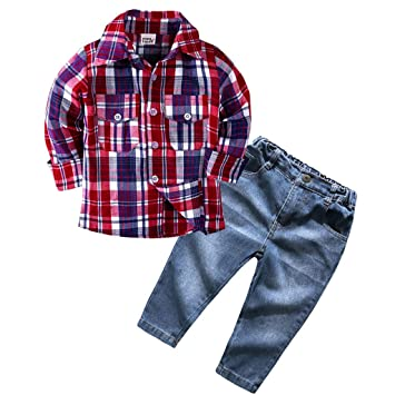 Little Girls Long Sleeve Plaid Shirt /& Cool Jeans Clothes Set Outfit