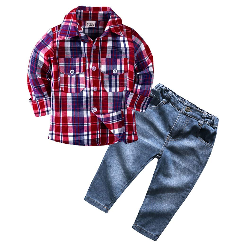 Fauean Fashion Children Kids Boys Girls Long Sleeve Plaid Shirt Tops Jeans Set