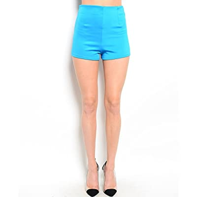 2LUV Women's High Waisted Ponte Shorts W/ Zipper Trim