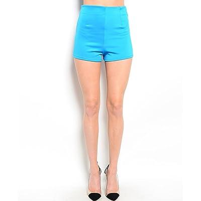2LUV Women's High Waisted Ponte Shorts W/ Zipper Trim