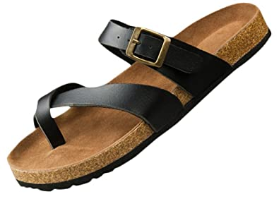 Womens Ladies Flat Soft Wood Sole Footed Keen Slippers Athletic Sandals Plus Size