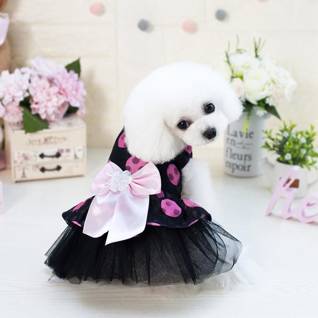 SunGren Falda para perro mascota, Bubble Bowknot Dot Dress Falda para perro Summer Falda redonda de hilo para perro mascota(XS,Amarillo): Amazon.es: ...