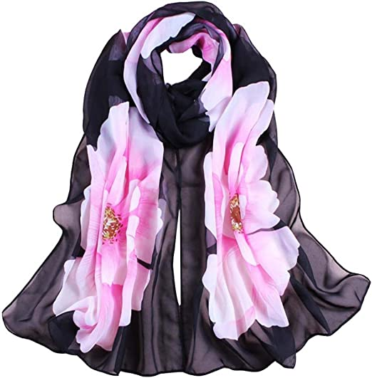 Soft Long Scarf in Purple wool and chiffon with lace flowers.