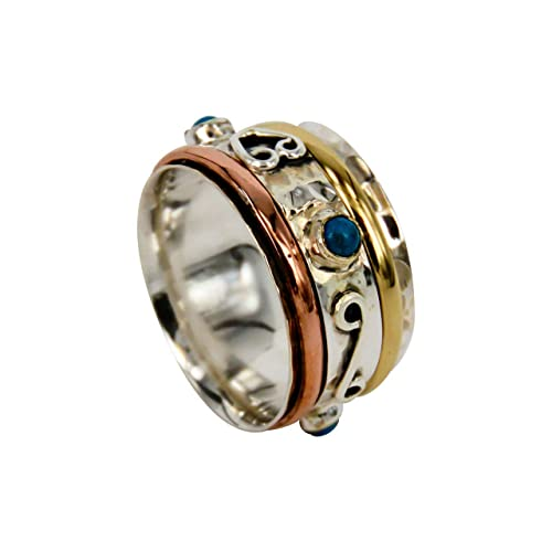 Worry Ring Rose and Gold Plated 925 Stamped Hammered Sterling Silver Ring Three Tone Meditation Spinner Ring Unisex Fidget Spinner Band