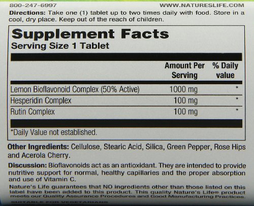 Nature's Life Bioflavonoids Tablets, Lemon, 1000 Mg, 100 Count