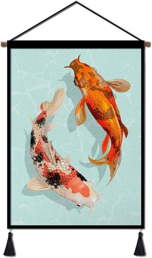 Tydo Koi Fish Hanging Posters Wall Art Painting, Cotton Linen Hanging Scroll Painting, Modern Artwork Decor for Home Living Room Bedroom Bathroom 26 X 18 Inch