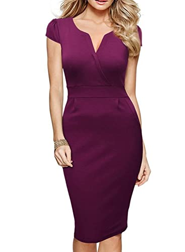 SYLVIEY Womens Elegant V Neck Cocktail Formal Office Vintage Pencil Dress