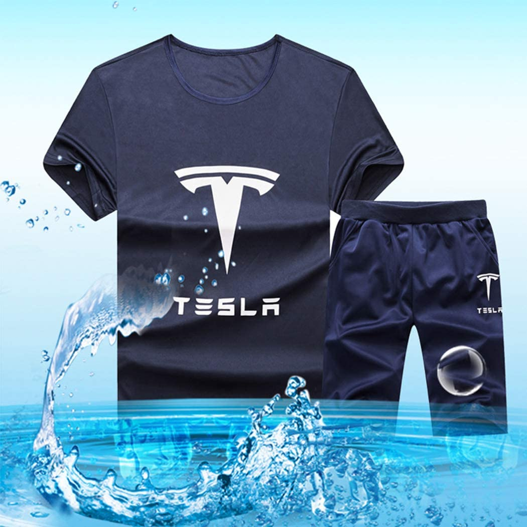 xzbailisha Mens 2 Piece Outfits Sportswear Cartoon Print Short Sleeve Shirt and Shorts Set Joggers Tracksuit
