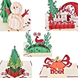 BESTIM INCUK 5 Pack Christmas Cards Set 3D Pop-up Greeting Card for Xmas,Festival,Birthday,Thank you,Anniversary and More including Chirstmas Tree,Snowman,Reindeer,Bell