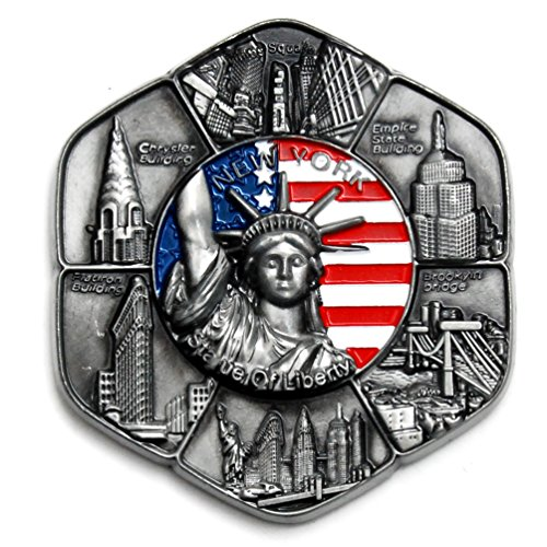 Circle New York Souvenir Metal Fridge NY Magnet - Statue of Liberty,Brooklyn Bridge,NY Chrysler Building,Flatiron NYC Metal Magnet (Pack 1) (New Magnet Refrigerator York)