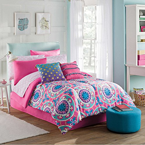 Pieces 8 Contemporary (Emily 8 Piece Kids and Teens Pink Contemporary Medallion Down FULL Comforter Set for Girls with European Pillow Sham)