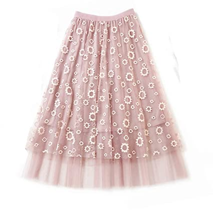 6acf1e32815929 Amazon.com: Women's Lace Skirt A-Line Layered Princess Mesh ...