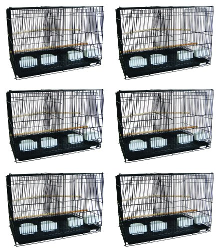Lot of Six Small Bird Cage with Divider Color: Black