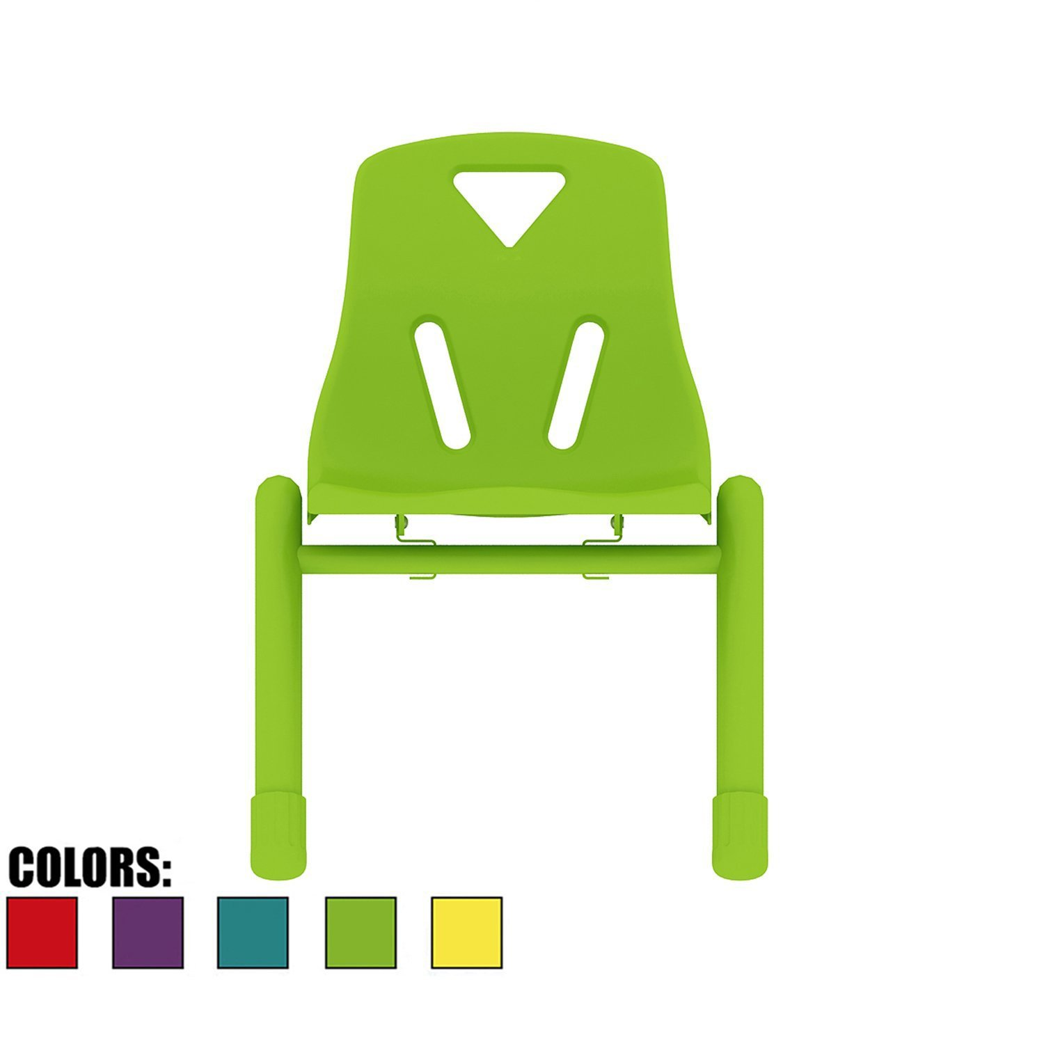 2xhome - Green - Kids Size Plastic Side Chair 12'' Seat Height Green Childs Chair Childrens Room School Chairs No Arm Arms Armless Molded Plastic Seat with Coated Metal Legs Stackable