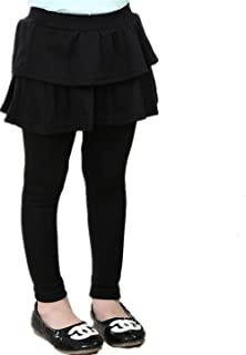 89a9a48971fcf Face Dream Little Girls Footless Leggings With Mini Ruffle Skirt Stretchy  Cotton Pantskirt