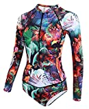 dilinte Long Sleeve One Piece Swimsuit Floral Print Zipper Sun Protection Swimsuit Rash Guard Bathing suit (S, Print #2)