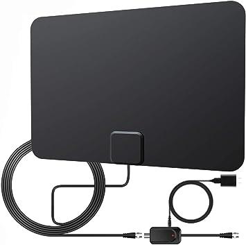 Antena de TV de interior para TV digital Freeview, antena HDTV de 60 millas + con amplificador desmontable amplificador de señal y cable coaxial de ...