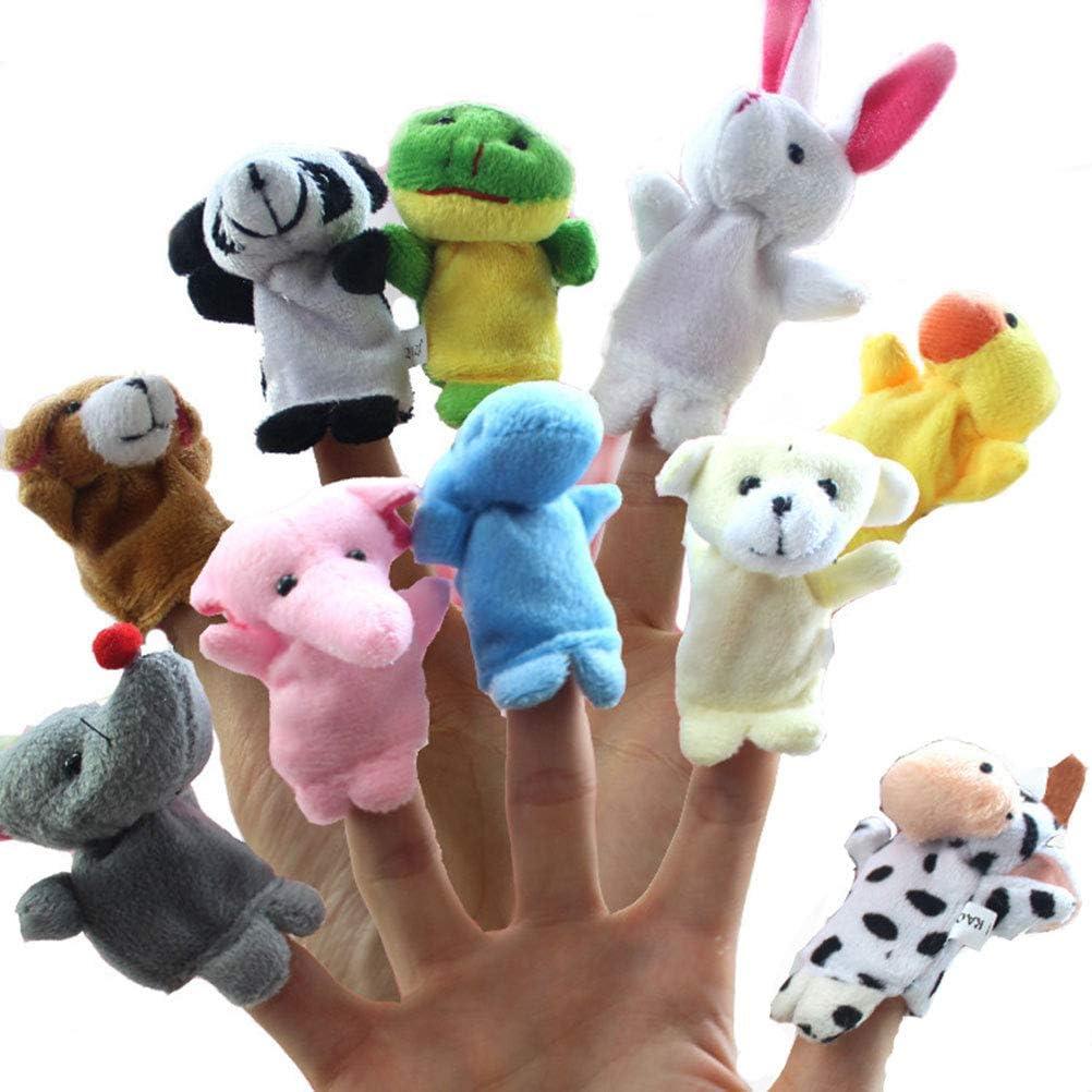 FLORMOON Marionetas de Dedo - 10 unids  Marionetas De Animales De Granja - Muñecas de Peluche Suave apoyos Juguetes - Mini Figuras de Peluche de Juguete - Títeres de Dedo de Manos para niños niños