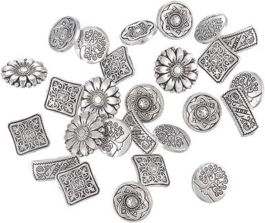 Los Botones Del Metal 50pcs Flor Tallada Botón Del Modelo Del ...