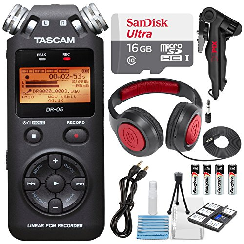 Tascam DR-05 (Version 2) Portable Handheld Digital Audio Recorder (Black) with Deluxe accessory (Portable Audio Accessories)