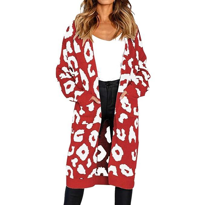 Hehong Mujer suéter Abrigo Boho Tops de Punto de impresión de Manga Larga para Navidad